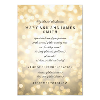 Elegant Wedding Vow Renewal Gold Glitter Lights 4.5x6.25 Paper Invitation Card