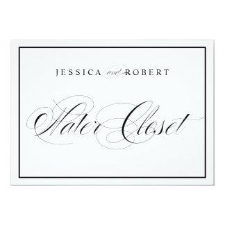Elegant Wedding Water Closet Sign Black Border Card