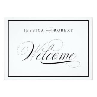Elegant Wedding Welcome Sign Black Border Card