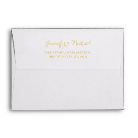 Elegant Wedding White Gold Name Return Address 5x7 Envelope