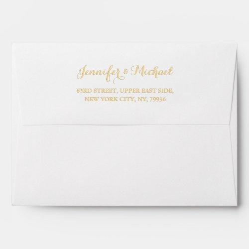 Elegant Wedding White Gold Name Return Address 5x7 Envelope