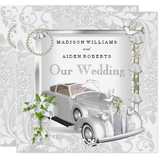 Elegant Wedding White Gold Vintage Car Damask 2 Card