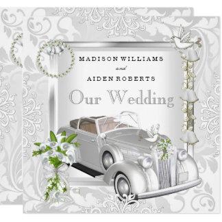 Elegant Wedding White Gold Vintage Car Damask 2 Invitation