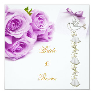 "Elegant Wedding White Purple Roses Dove Bells 5.25"" Square Invitation Card"