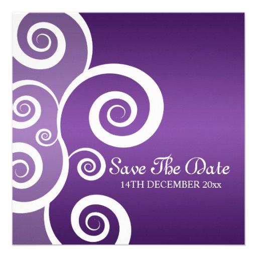 Elegant Wedding White Swirls Purple Custom Announcements