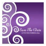 Elegant Wedding White Swirls Purple 5.25x5.25 Square Paper Invitation Card