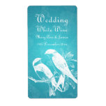 Elegant Wedding Wine Label Love Birds Blue
