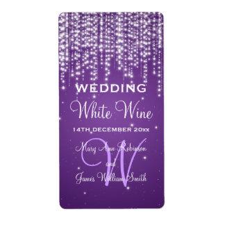 Elegant Wedding Wine Label Night Dazzle Purple Shipping Label
