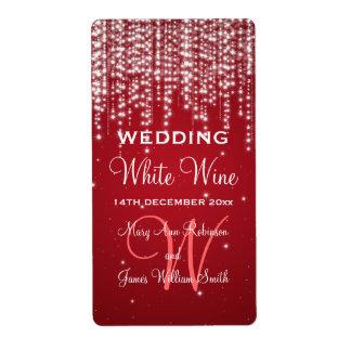 Elegant Wedding Wine Label Night Dazzle Red Shipping Label