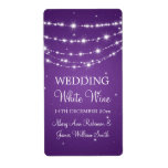 Elegant Wedding Wine Label Sparkling Chain Purple