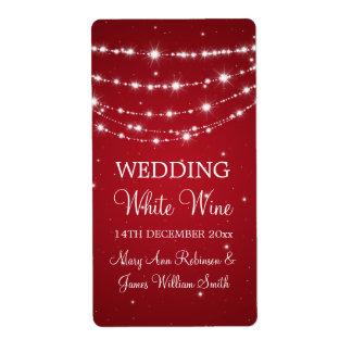 Elegant Wedding Wine Label Sparkling Chain Red