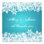 Elegant Wedding Winter Snowflakes Blue 5.25x5.25 Square Paper Invitation Card