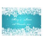 Elegant Wedding Winter Snowflakes Blue Personalized Invites