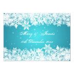Elegant Wedding Winter Snowflakes Blue 5x7 Paper Invitation Card