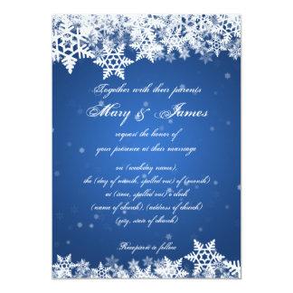 Elegant Wedding Winter Snowflakes Blue Sapphire 5x7 Paper Invitation Card