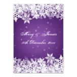 Elegant Wedding Winter Snowflakes Purple Card