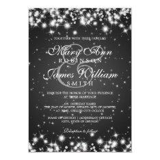 Elegant Wedding Winter Sparkle Black 5x7 Paper Invitation Card at Zazzle