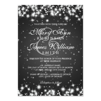 Elegant Wedding Winter Sparkle Black Card