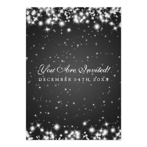 Elegant Wedding Winter Sparkle Black Invitation (back side)