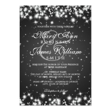 Elegant Wedding Winter Sparkle Black Invitation at Zazzle