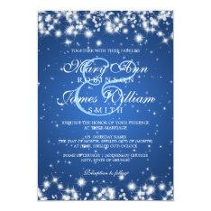 Elegant Wedding Winter Sparkle Blue 5x7 Paper Invitation Card at Zazzle