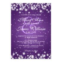 Elegant Wedding Winter Sparkle Purple Invitation