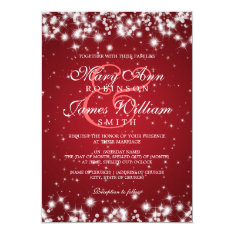 Elegant Wedding Winter Sparkle Red 5x7 Paper Invitation Card at Zazzle