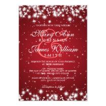 Elegant Wedding Winter Sparkle Red Card