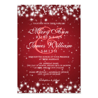 Elegant Wedding Winter Sparkle Red Card