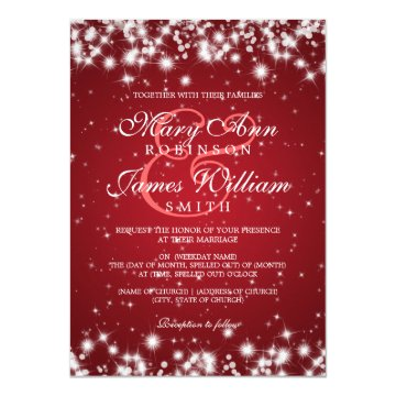 Elegant Wedding Winter Sparkle Red Cards at Zazzle
