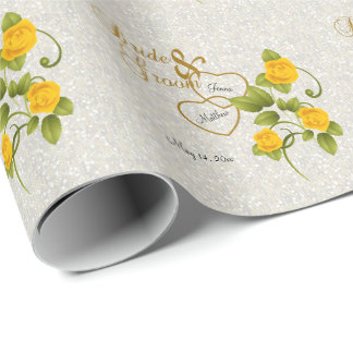 Elegant Wedding with Yellow Roses & Gold Lettering Wrapping Paper