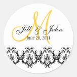 Elegant Wedding Yellow Monogram Save the Date Stickers