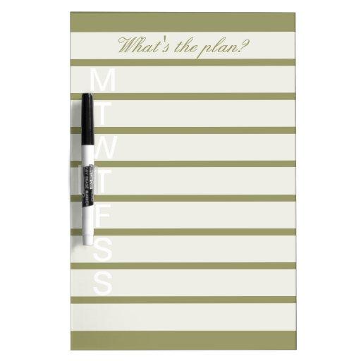 Dry Erase Weekly Calendar Board : Elegant weekly calendar dry erase board zazzle