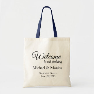 Elegant Welcome Custom Wedding Hotel Gift Tote Bag