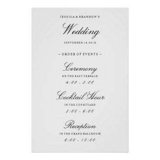 Elegant Welcome Wedding Order of Events Reception Poster
