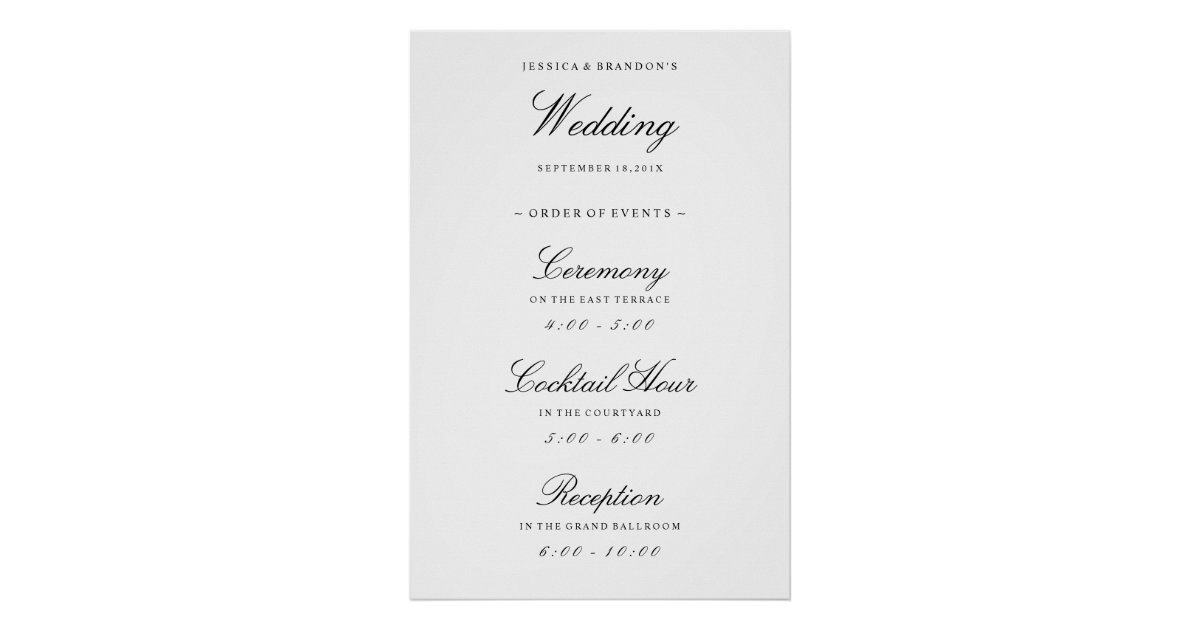 Elegant Welcome Wedding Order Of Events Reception Poster Zazzle Com