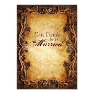 Elegant  western vintage wedding rehearsal dinner card