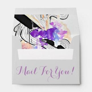 Elegant whimical Watercolor and ink purple art Envelope