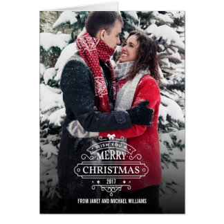 Elegant Whimsical Christmas Holiday Photo Card