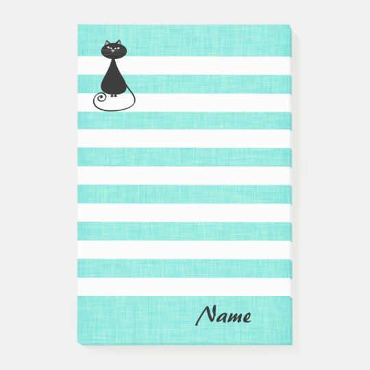 Elegant whimsical funny cat stripes personalized post-it notes