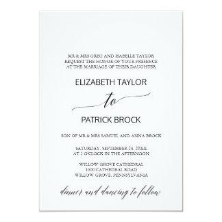 Elegant White and Black Calligraphy Formal Wedding Card