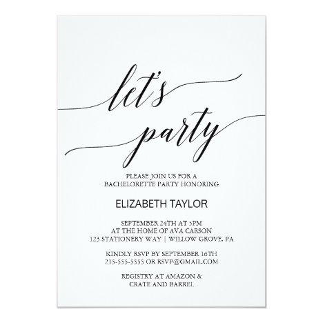 Elegant White and Black Calligraphy Let's Party Invitation