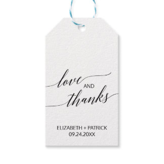 Elegant White and Black Calligraphy Love & Thanks Gift Tags