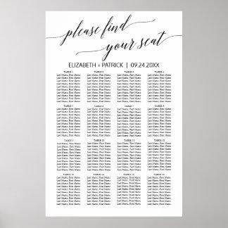 Elegant White and Black Calligraphy Seating Chart