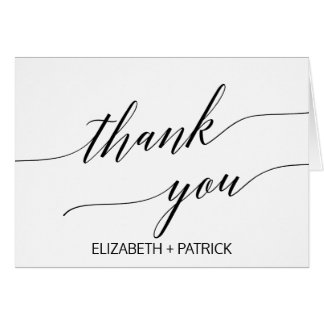 Elegant White and Black Calligraphy Thank You Card