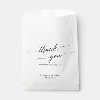 Elegant White and Black Calligraphy Thank You Favor Bag