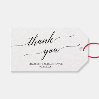 Elegant White and Black Calligraphy Thank You Gift Tags