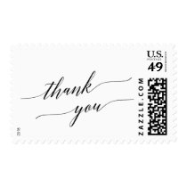 Elegant White and Black Calligraphy Thank You Postage