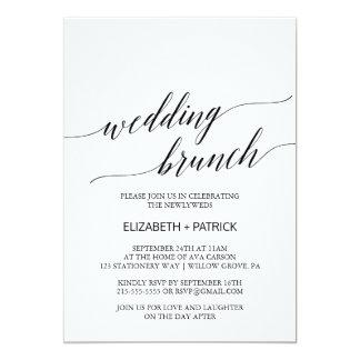 Elegant White and Black Calligraphy Wedding Brunch Card