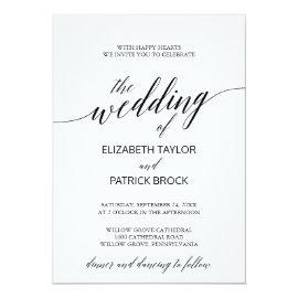 Elegant White and Black Calligraphy Wedding Card